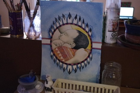 mandala, art, watercolour, baby, motherhood, painting of baby